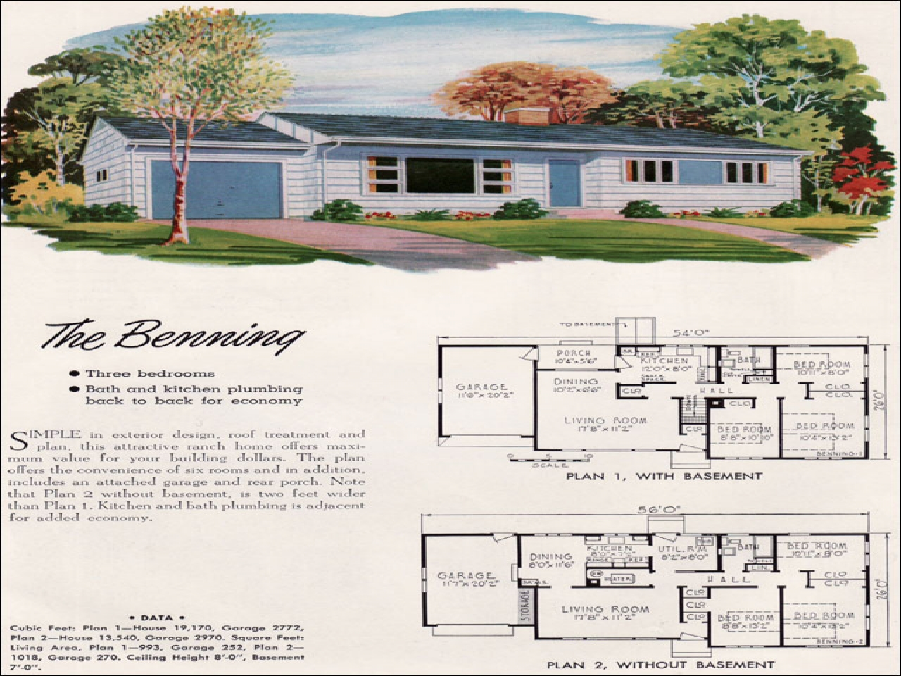Mid century modern decorating mid century ranch style 1952 for Mid century home plans