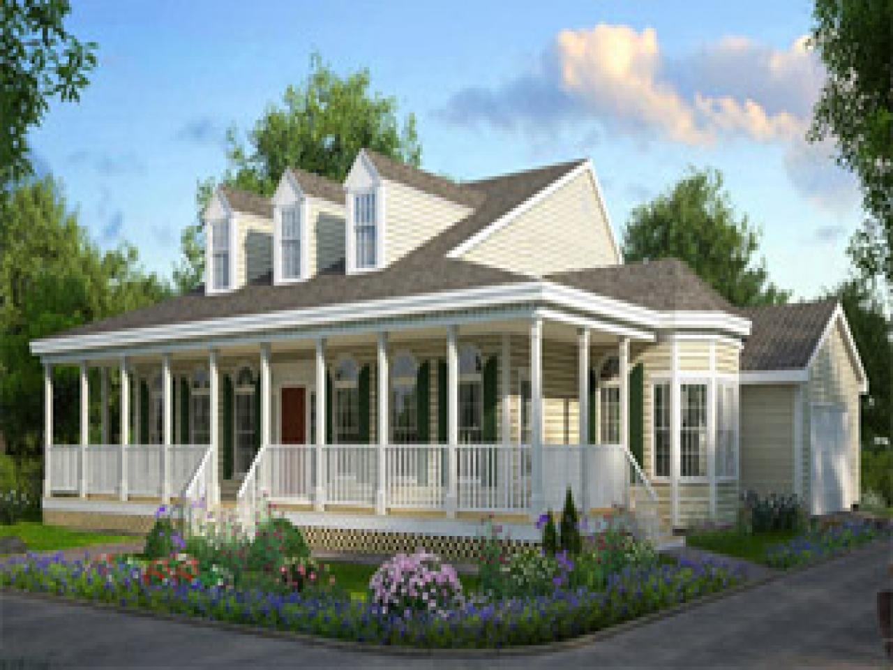 One story house plans with front porches large one level for House plans with large porches
