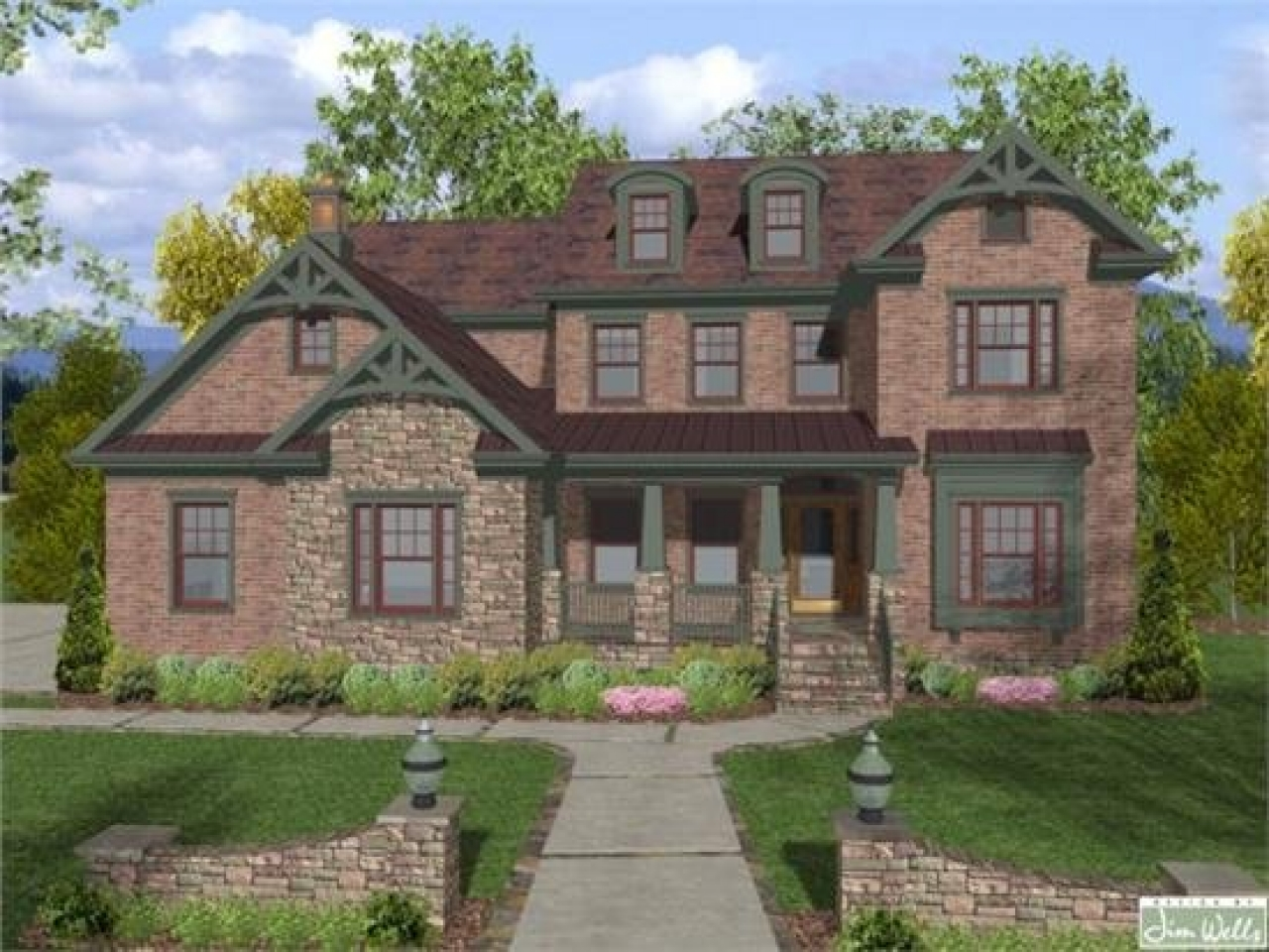 Brick house plans brick house plans with wrap around for Brick farmhouse plans