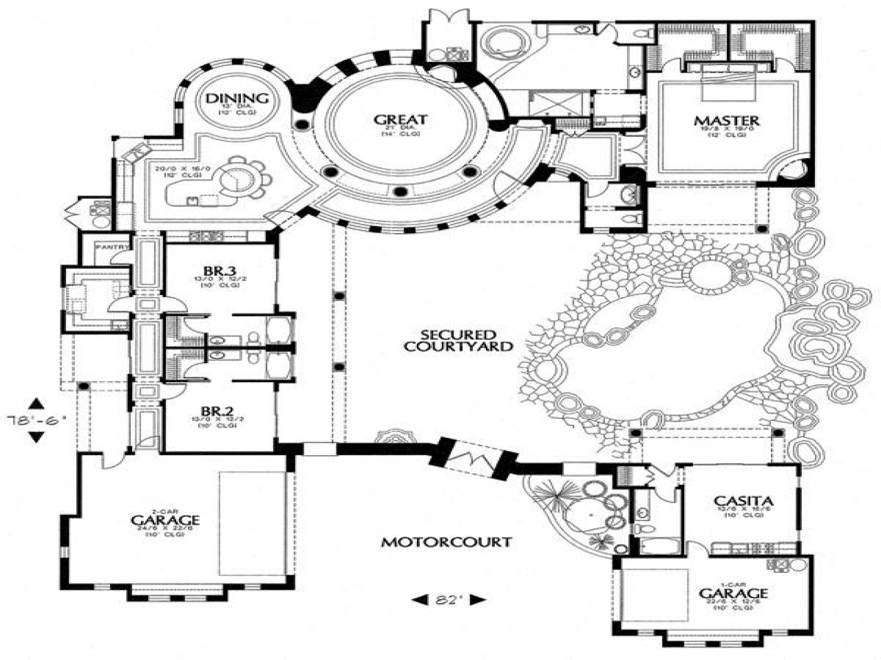 Spanish courtyard house plans spanish house plans with for Hacienda floor plans with courtyard