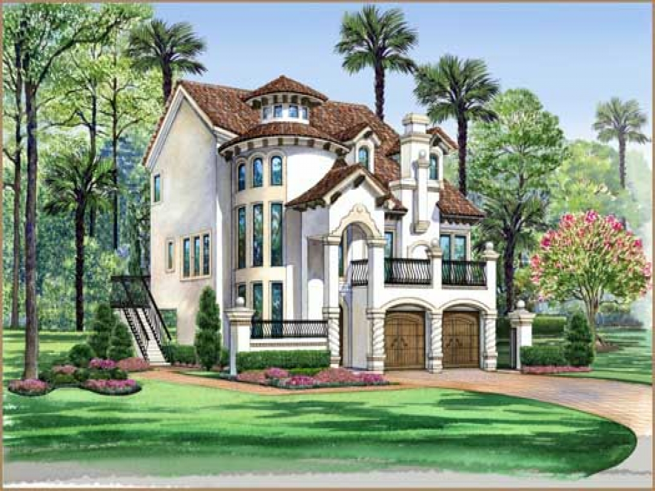 3-Story House with Pool 3 Story Mediterranean House Plans ...