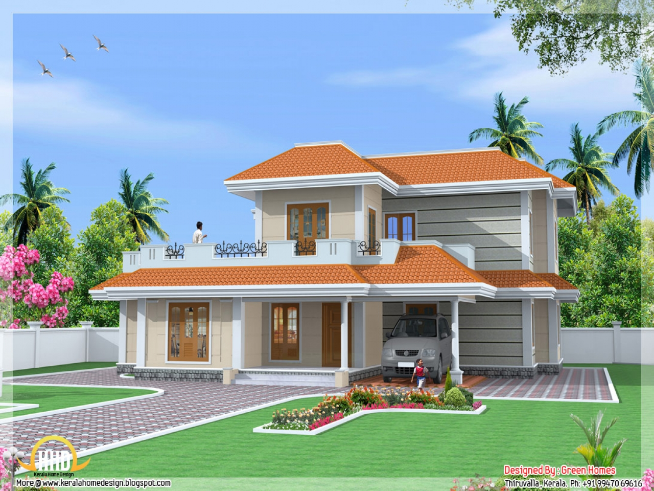 Most beautiful houses in kerala kerala model house design - Beautiful front designs of homes ...