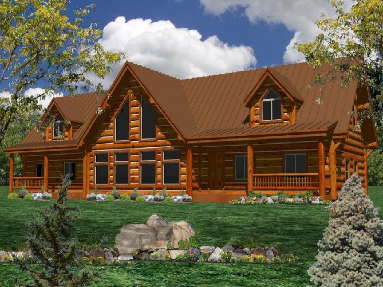 One Story Log Home Plans One Story Log Home With Wrap