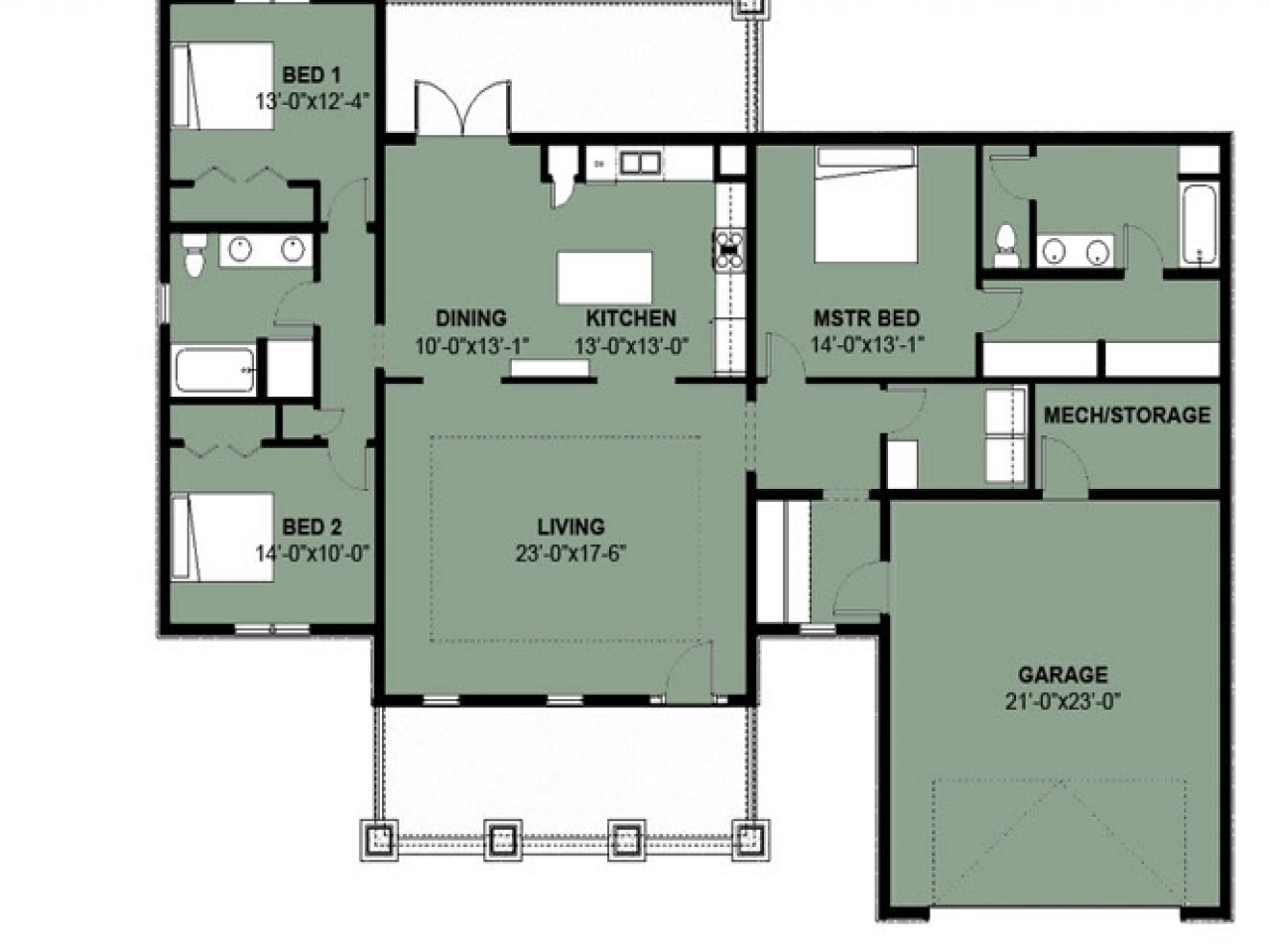 Simple 3 bedroom house floor plans simple 3 bedroom 2 bath for 5 bedroom 3 5 bath house plans