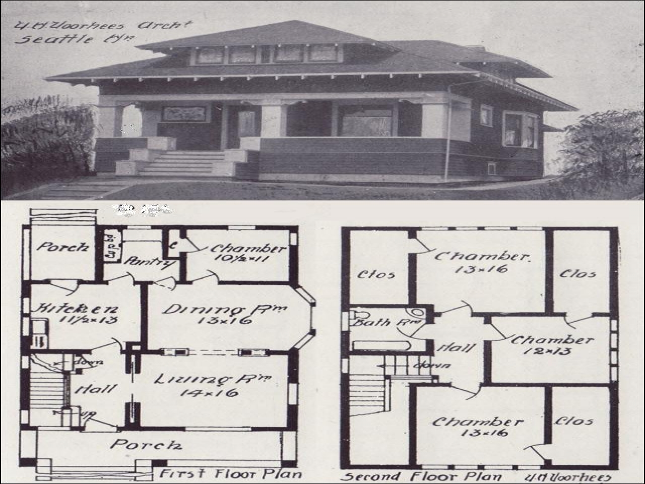 Vintage craftsman single story bungalow vintage craftsman for Single story craftsman bungalow house plans