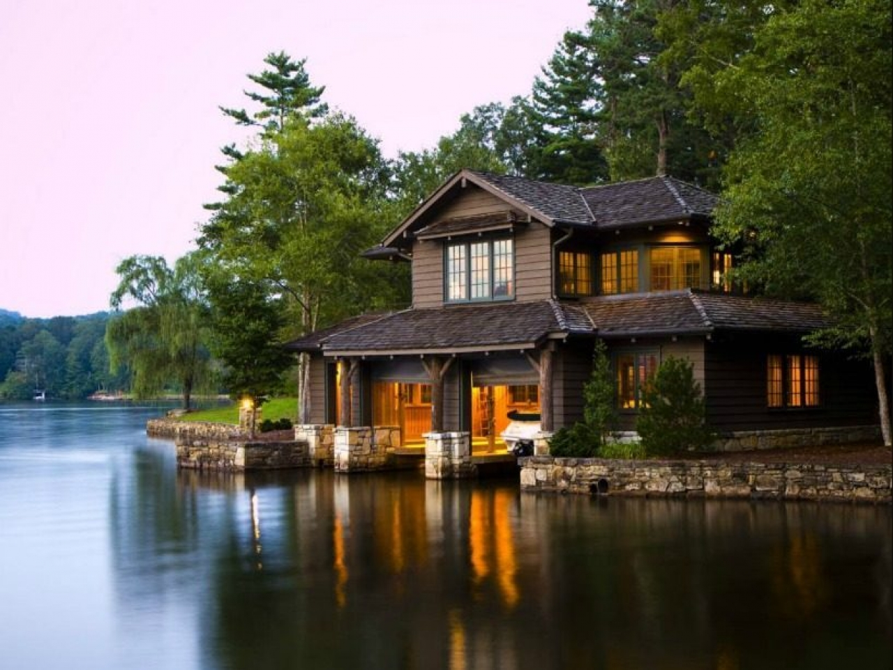 By the Lake House Lake Cabin House, luxury lakefront house plans - Treesranch.com