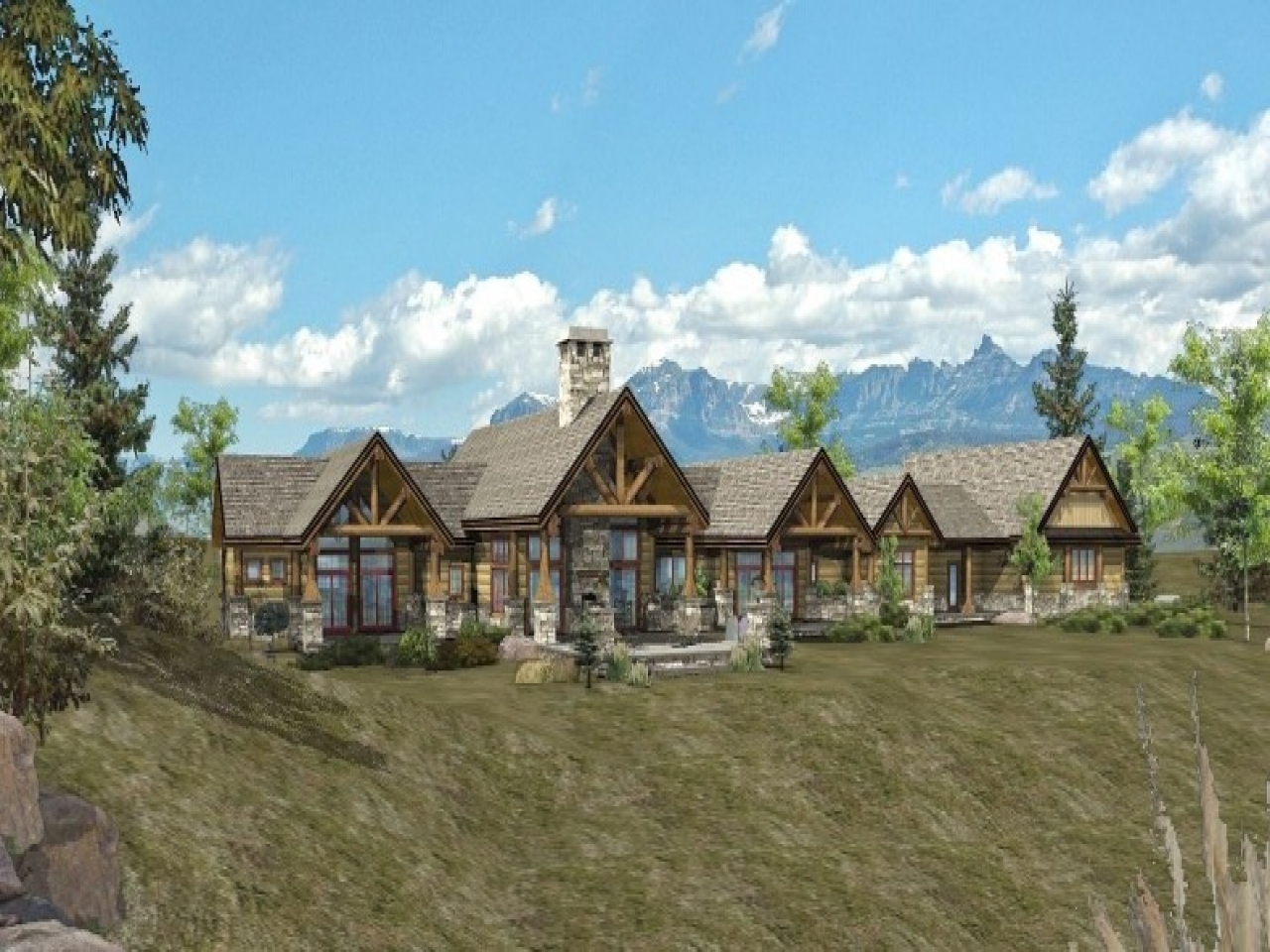 Log modular home floor plans ranch log homes cabins and for Ranch log home floor plans