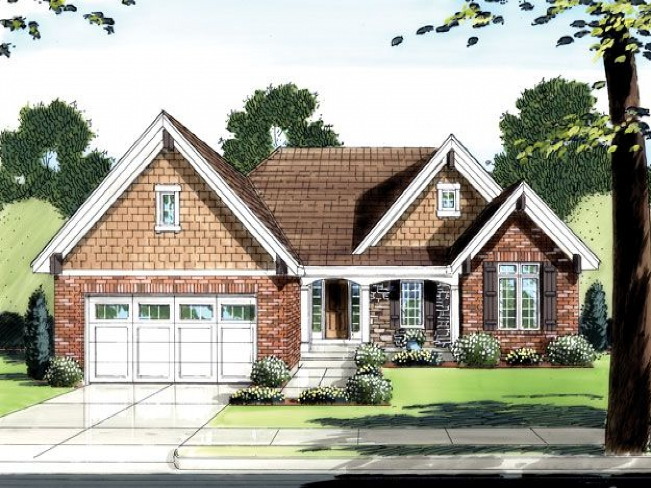 One Story Brick House Brick One Level House Plans One