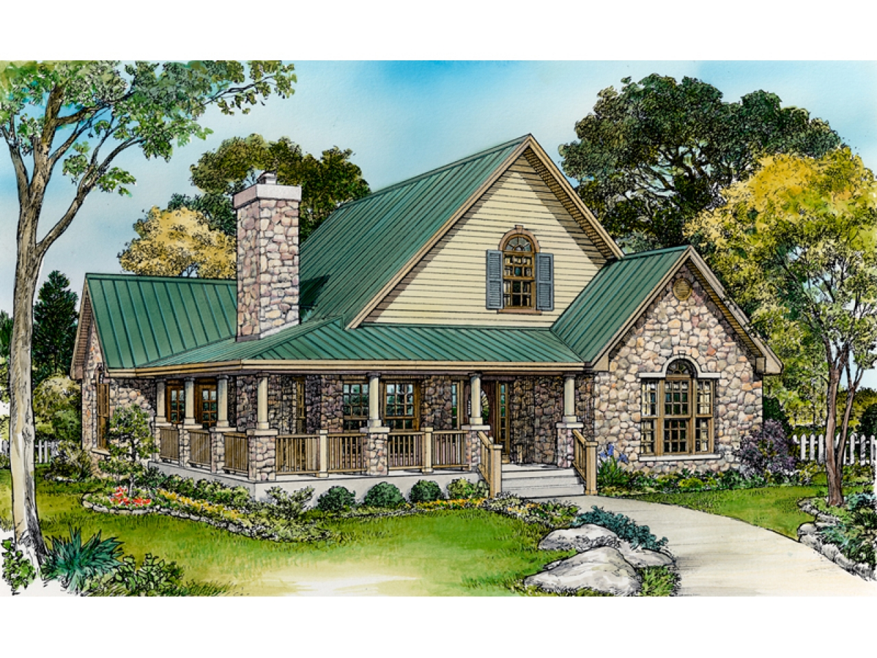 Small rustic house plans with porches small country house for Rustic country homes