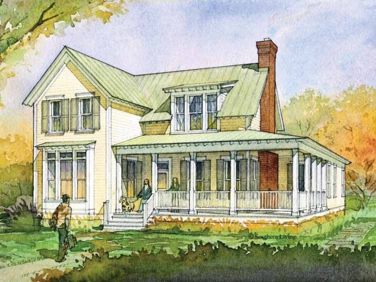 Southern living house plans farmhouse one story house for Southern cottage home plans