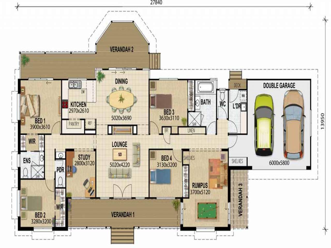 Acreage house plan architectural drawing house floor plan for Rural development house plans