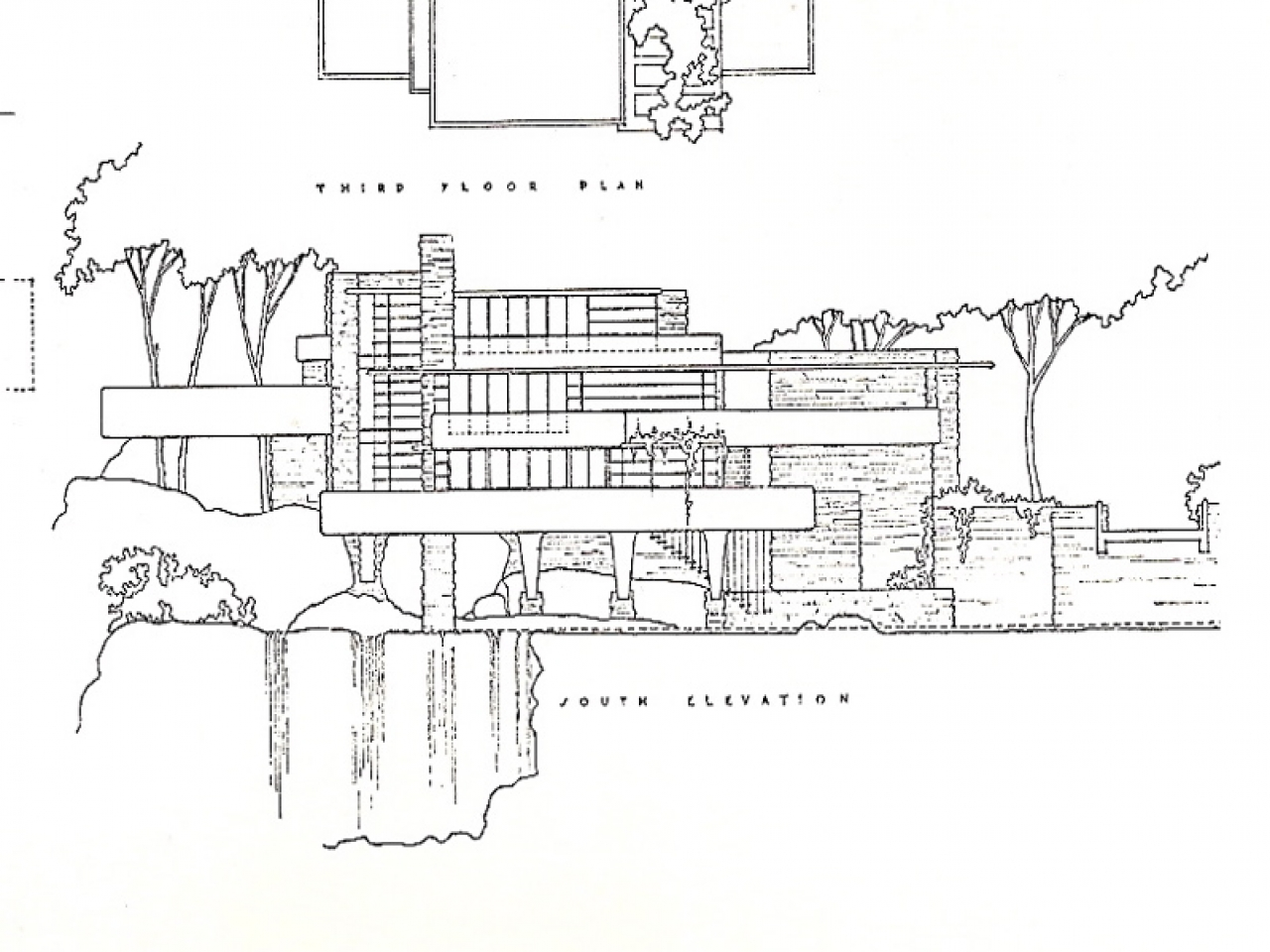 Elevation Plan Blueprint : Falling water plans and elevations