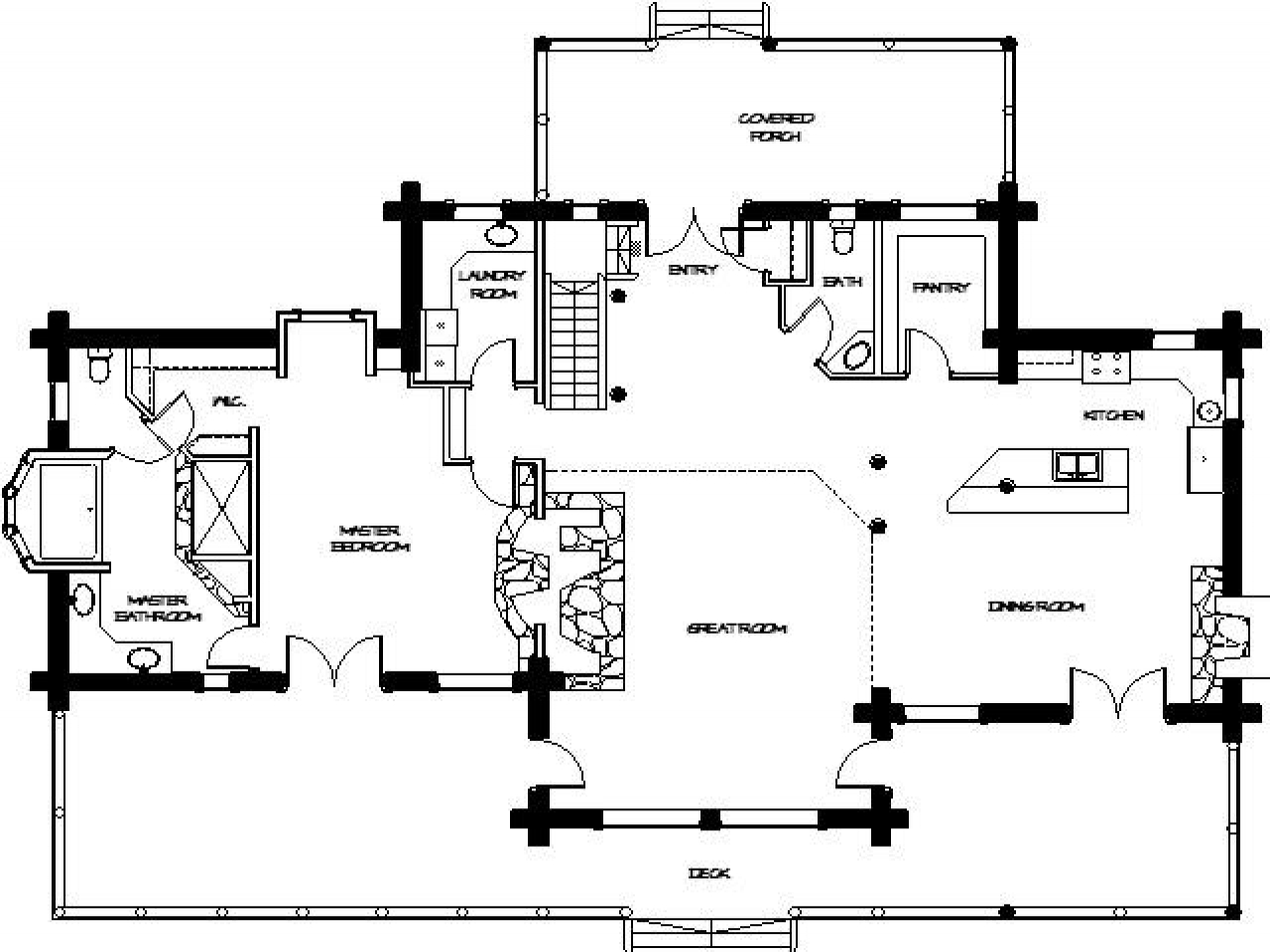 Log home floor plans small log cabin homes plans log for Ranch log home floor plans