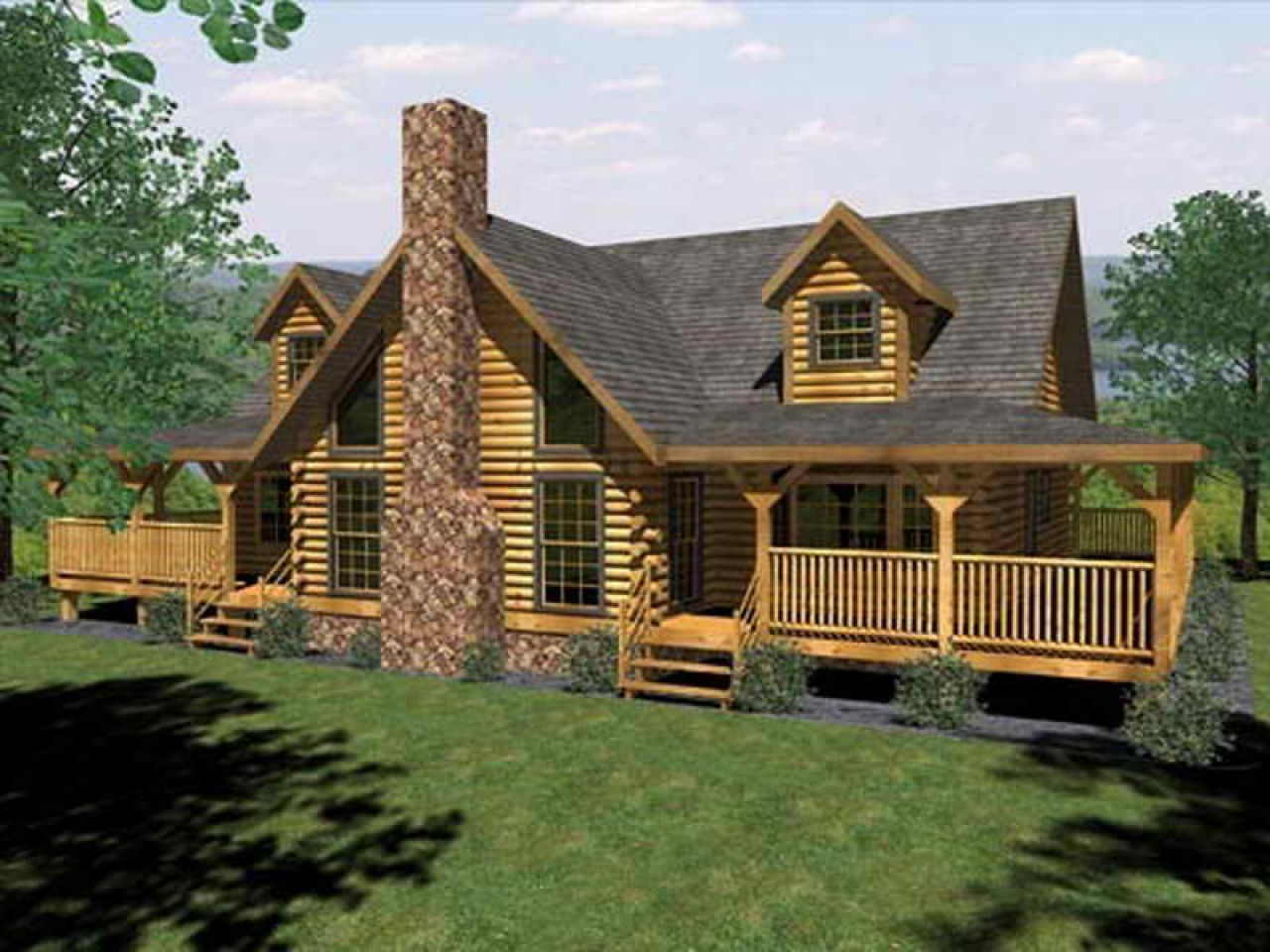 Log cabin house plans with open floor plan log cabin house for Log cabin ranch floor plans