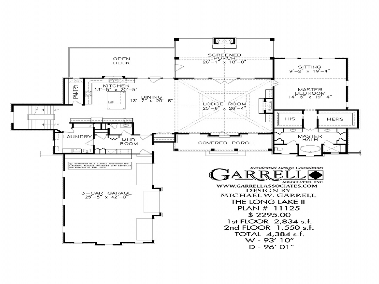 Long lake ii house plan 11125 1st floor plan lake style Long ranch style house plans