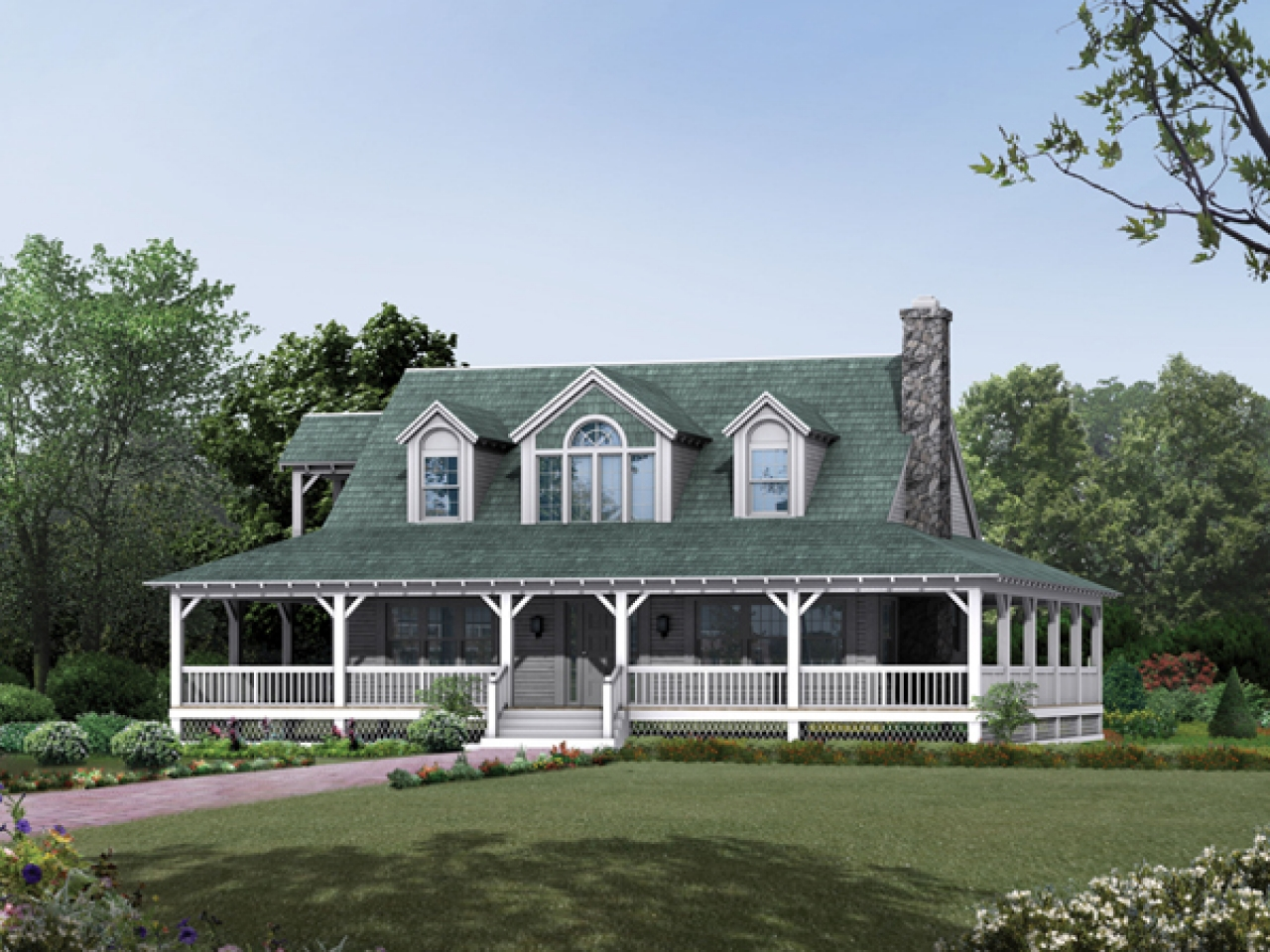 One Story Farmhouse Plans Country Farmhouse Plans With