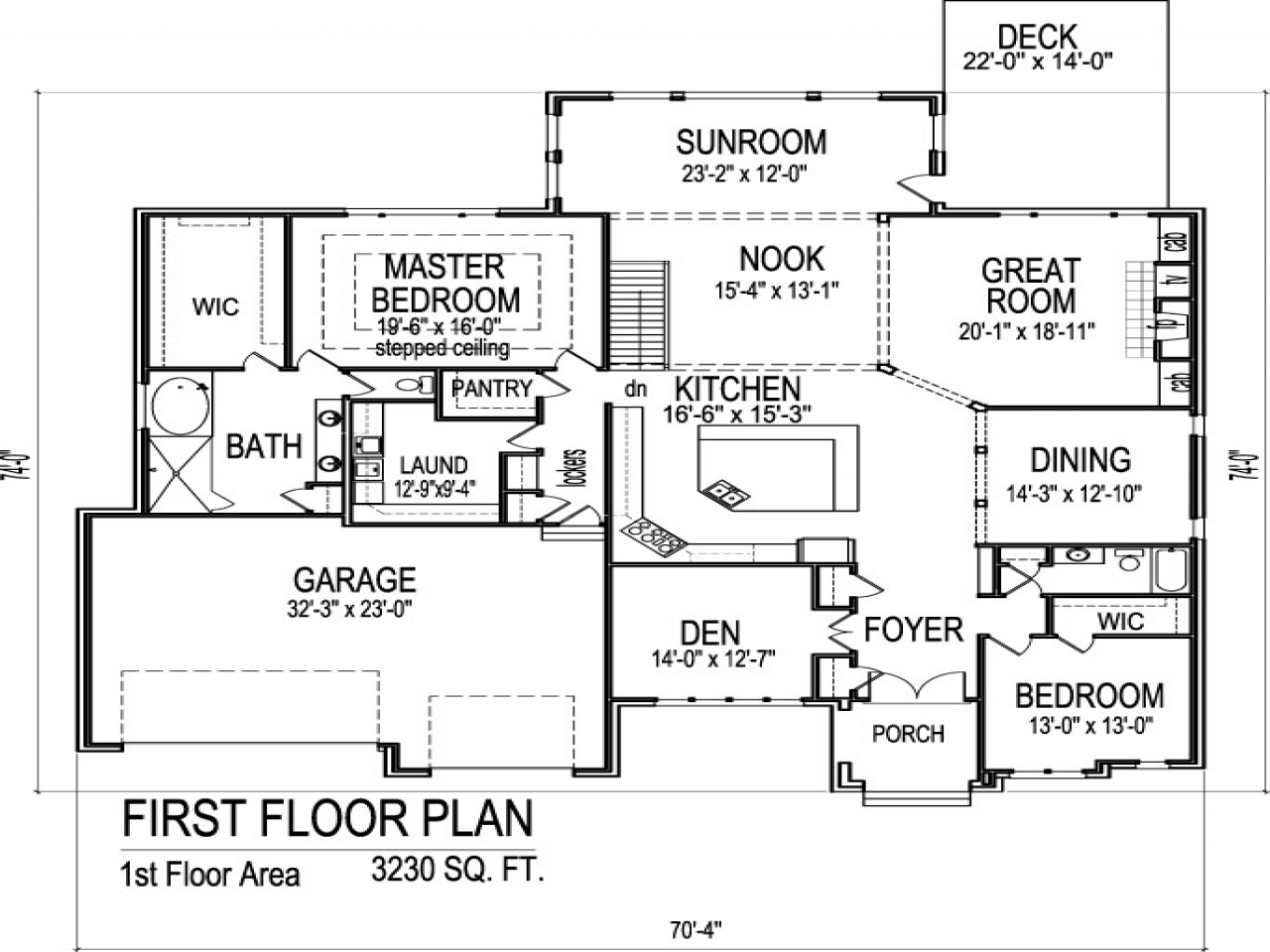 Single story floor plans single story house plans with 3 for Single story house plans with 3 car garage