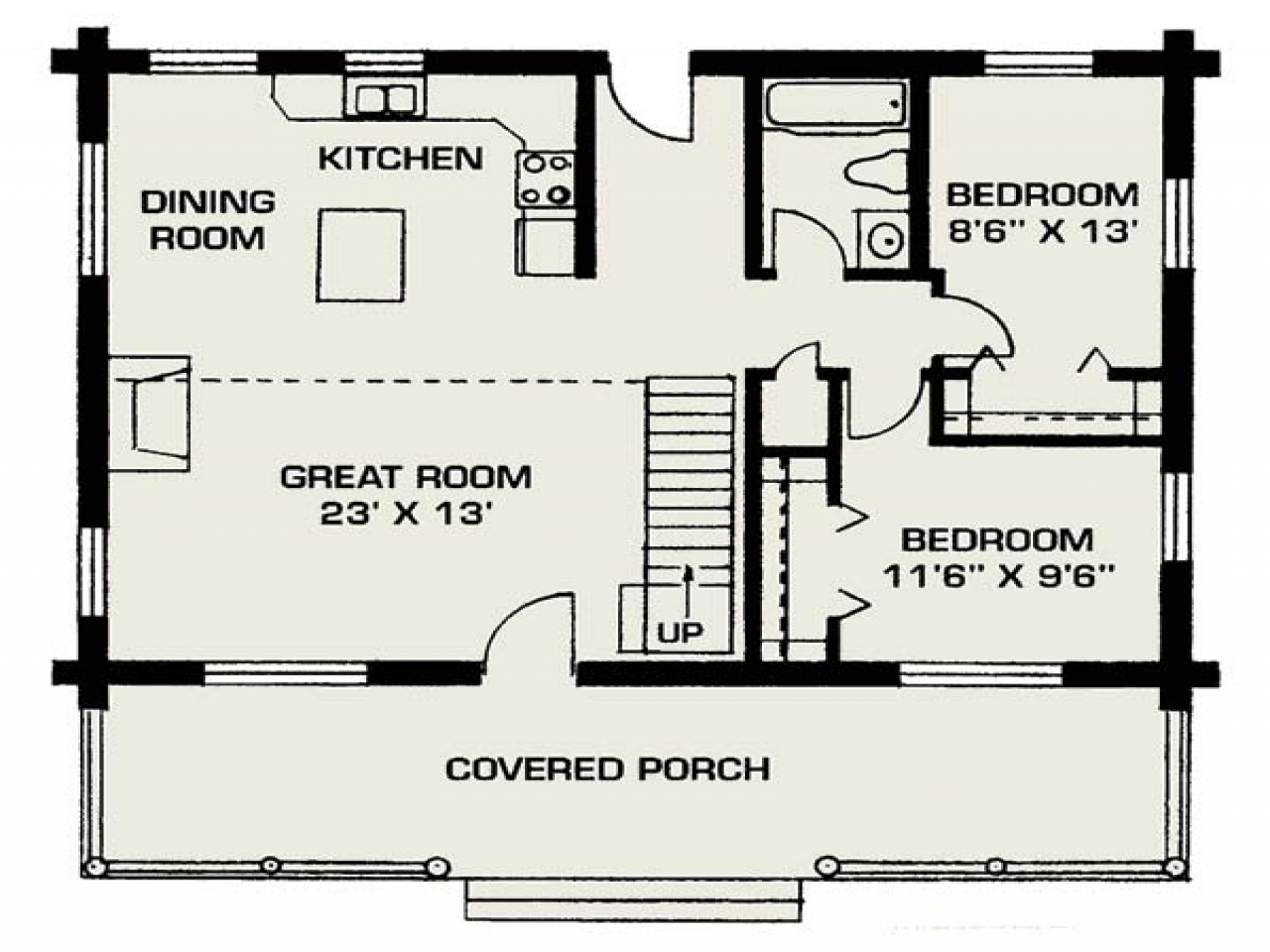 Small log house floor plans small log cabin living small house floor plans free for Small modern house designs and floor plans