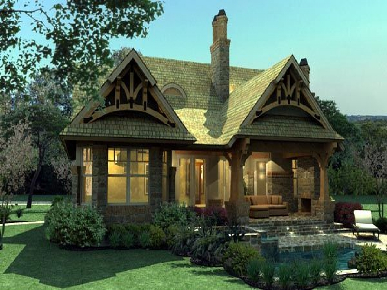 Craftsman bungalow cottage house plan tuscan small for Small craftsman house plans