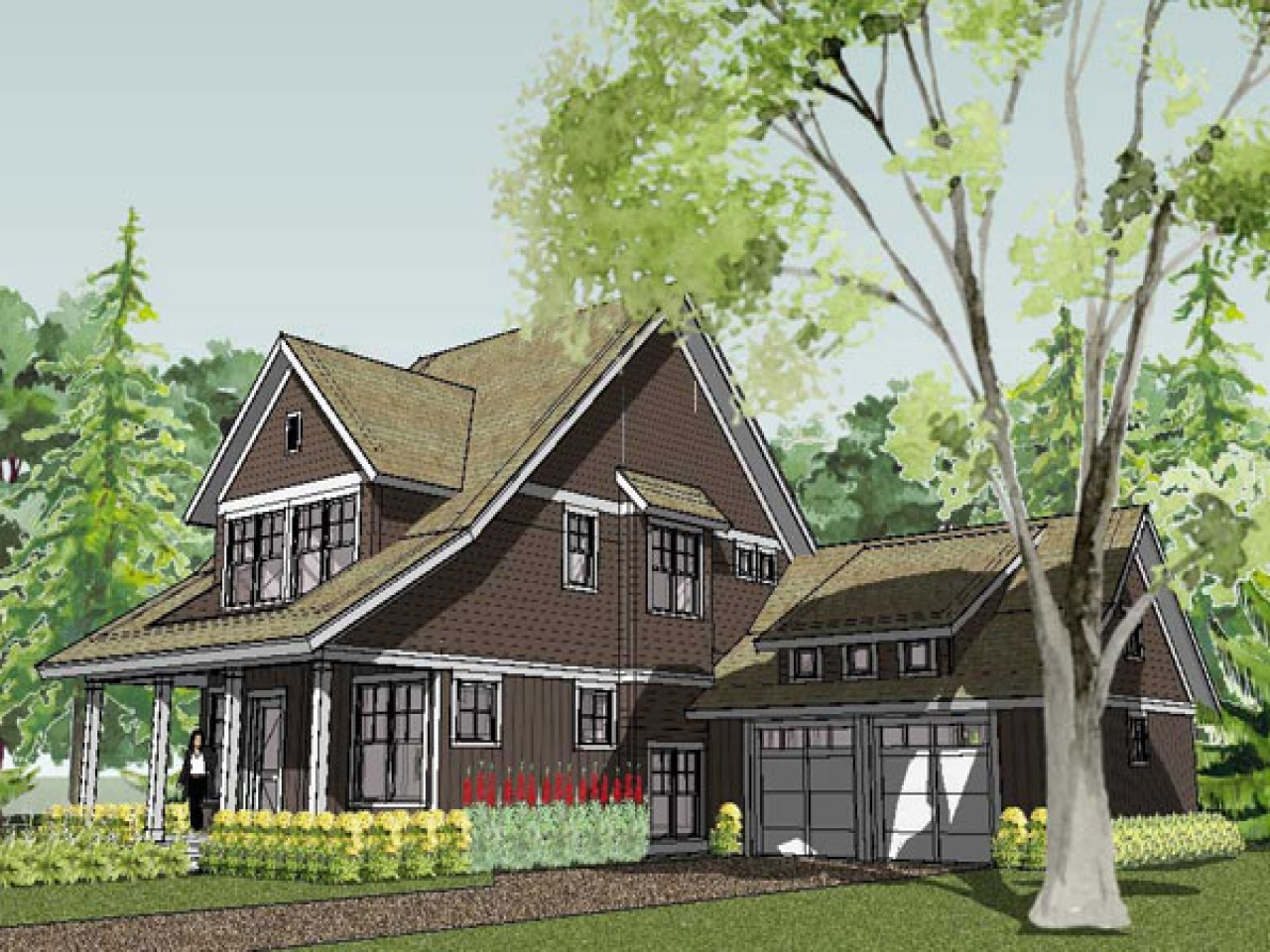 Small house plan style bungalow 3d small house plans for Small craftsman bungalow plans