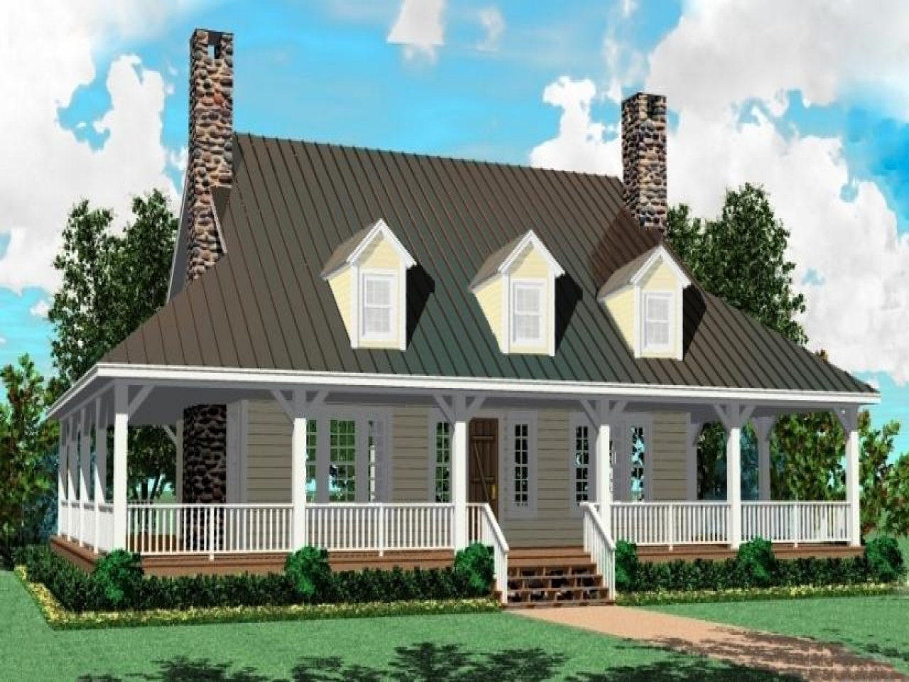 One story farm house plans one story ranch house 1 story for Single story ranch homes