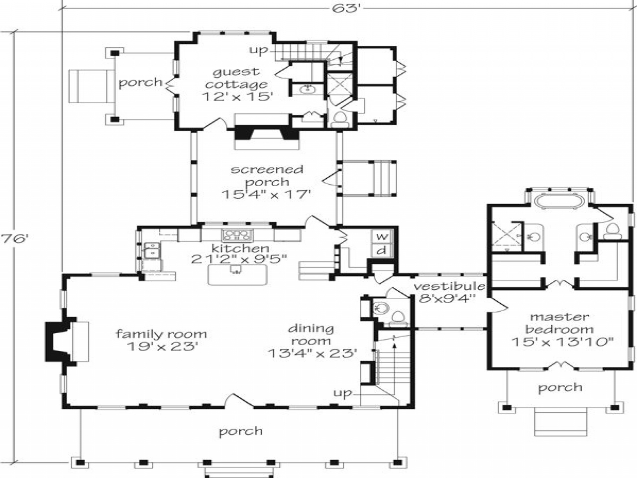 Southern living floor plans with guest houses southern for Southern cottage floor plans