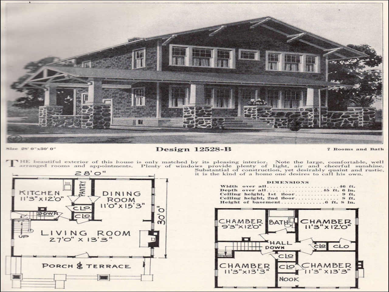 2 Story 1920s Craftsman Bungalow House Plans 1 1 2 Story