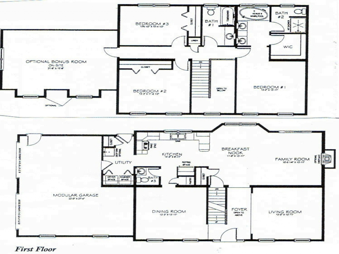 2 story 3 bedroom house plans 2 bedroom one story homes 4 for Four bedroom cottage house plans