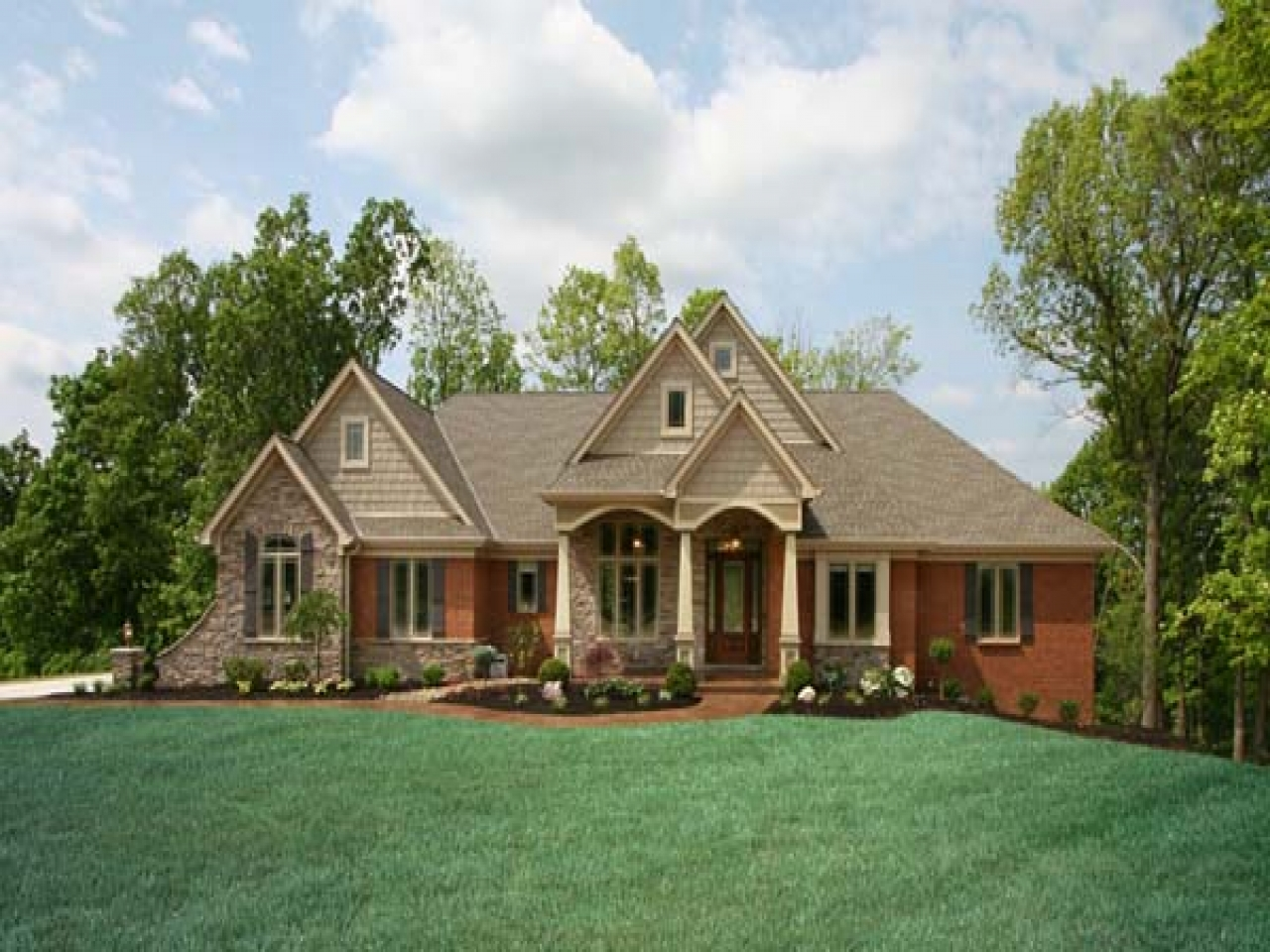 Red Brick Ranch House Exterior
