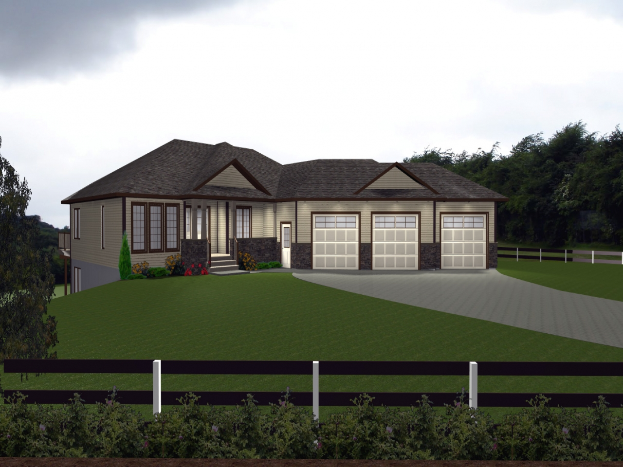 Carport plans attached to house house plans with attached for Ranch house plans with 3 car garage