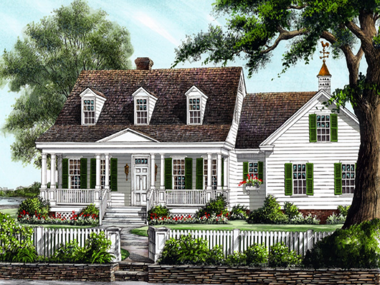 Large colonial house plans southern colonial house plans for Southern colonial house plans