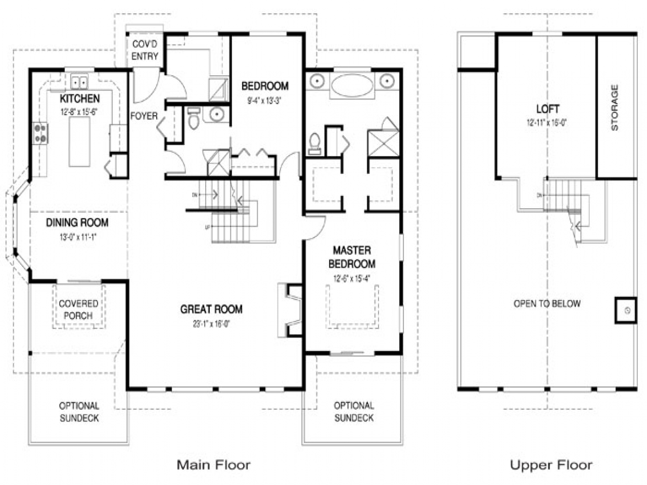 Open concept kitchen and family room open concept house for Open concept house plans with loft