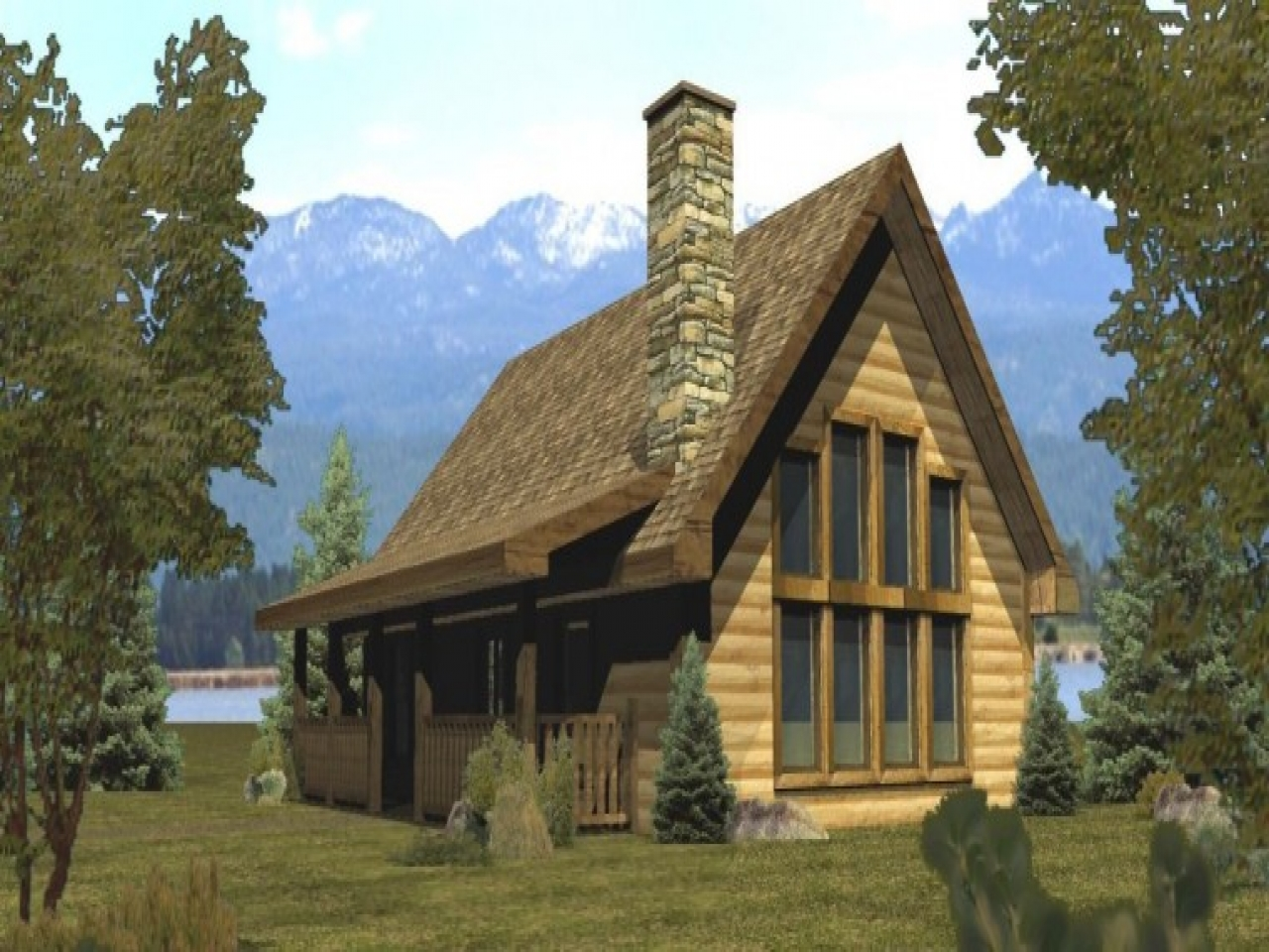 Small log cabin house plans small log cabins and cottages for Lakefront modular home plans