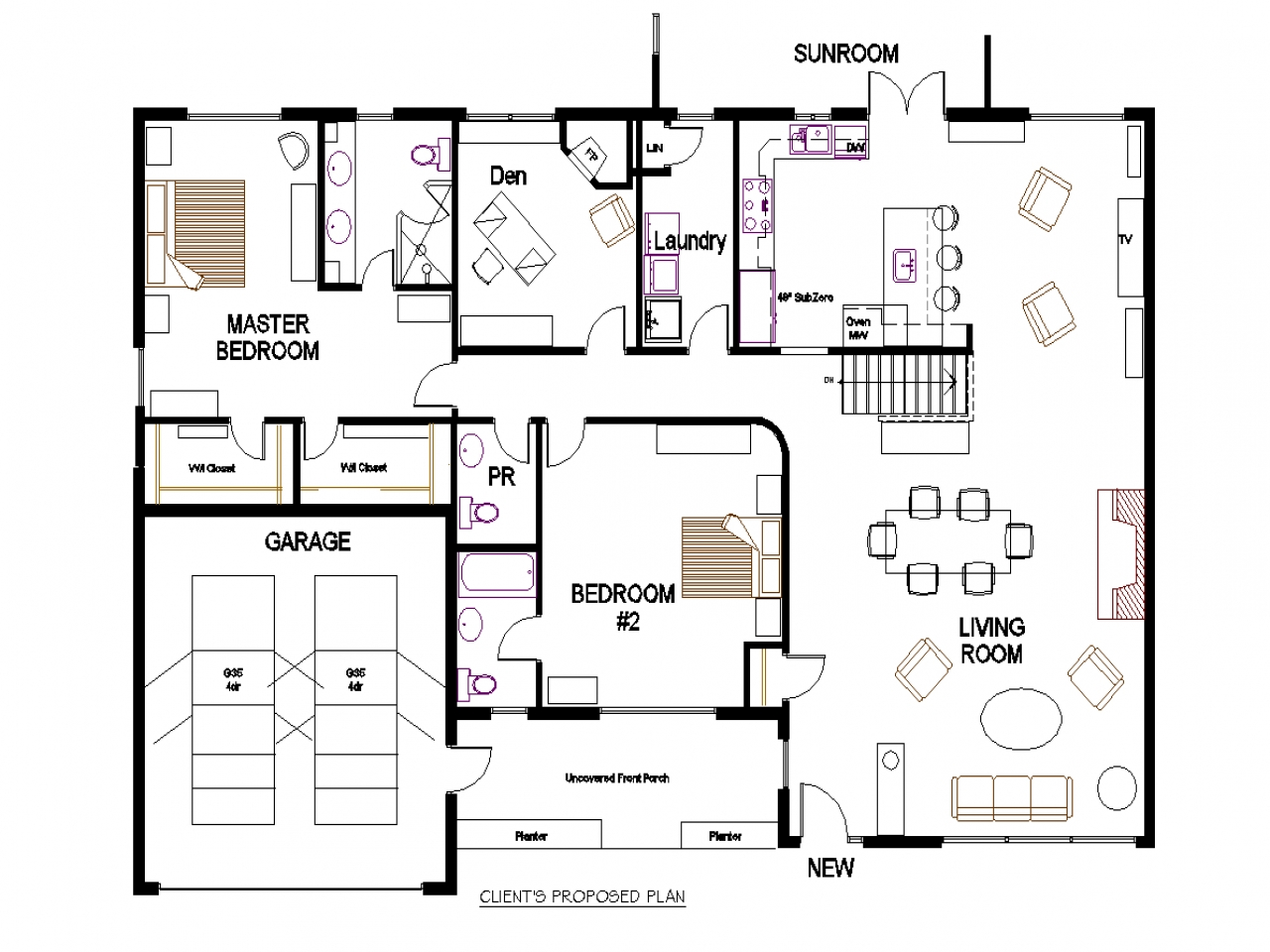 Bungalow open concept floor plans two bedroom bungalow for One bedroom bungalow floor plans