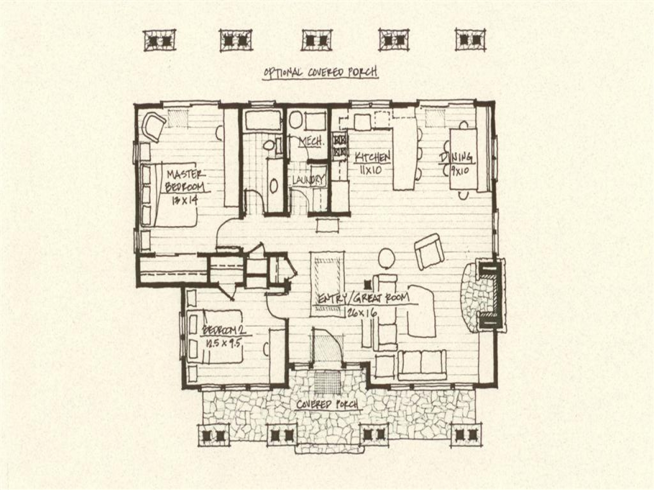 Cabin floor plan rustic cabin floor plans cabin plan for Rustic cottage floor plans