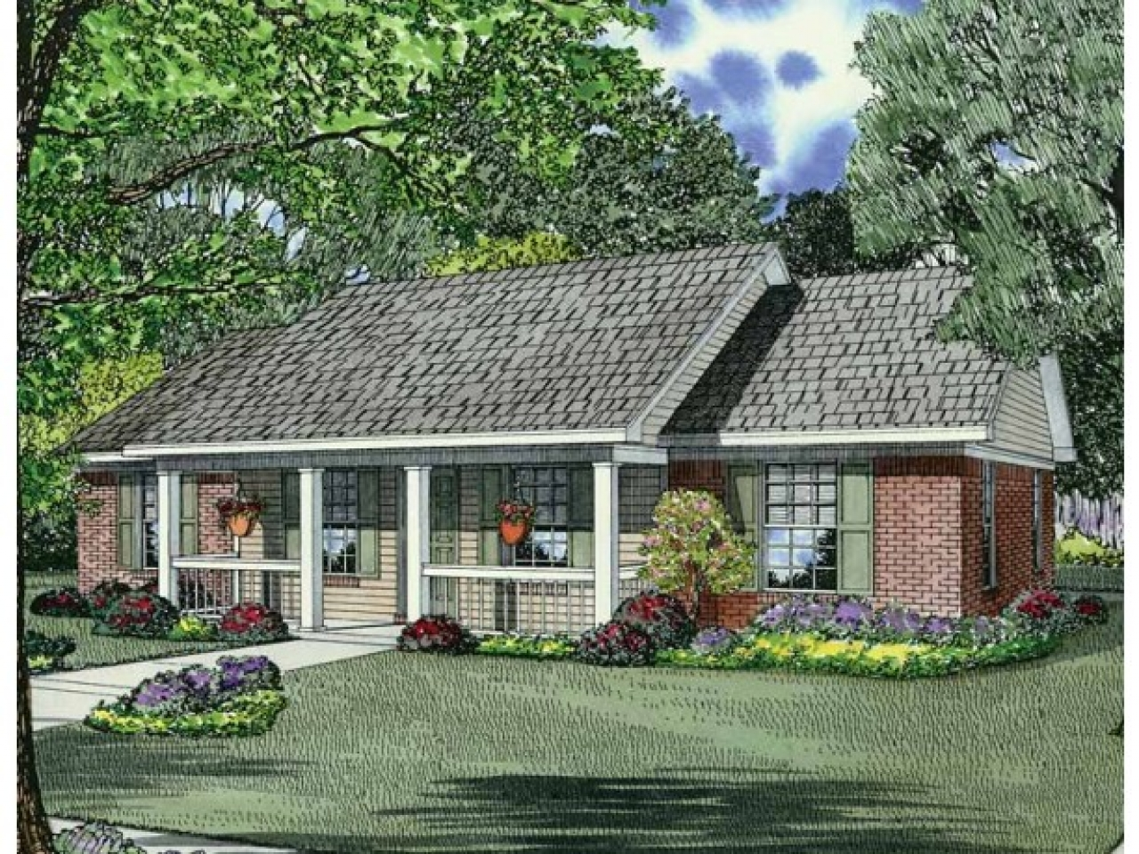 Country House Plan With 1100 Square Feet And 3 Bedrooms