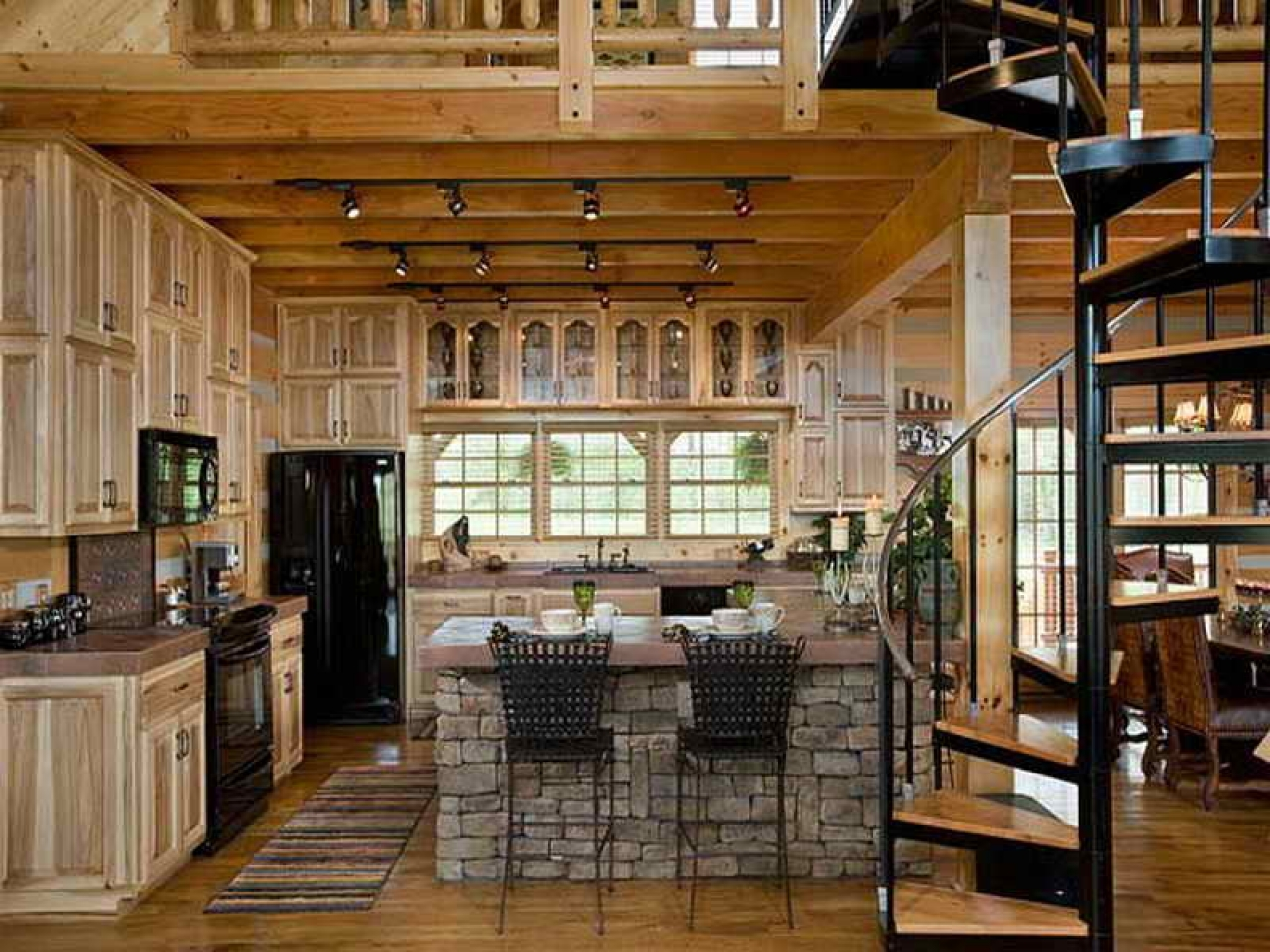 Log cabin kitchen design ideas rustic log cabin kitchen for Cabin kitchen cabinets