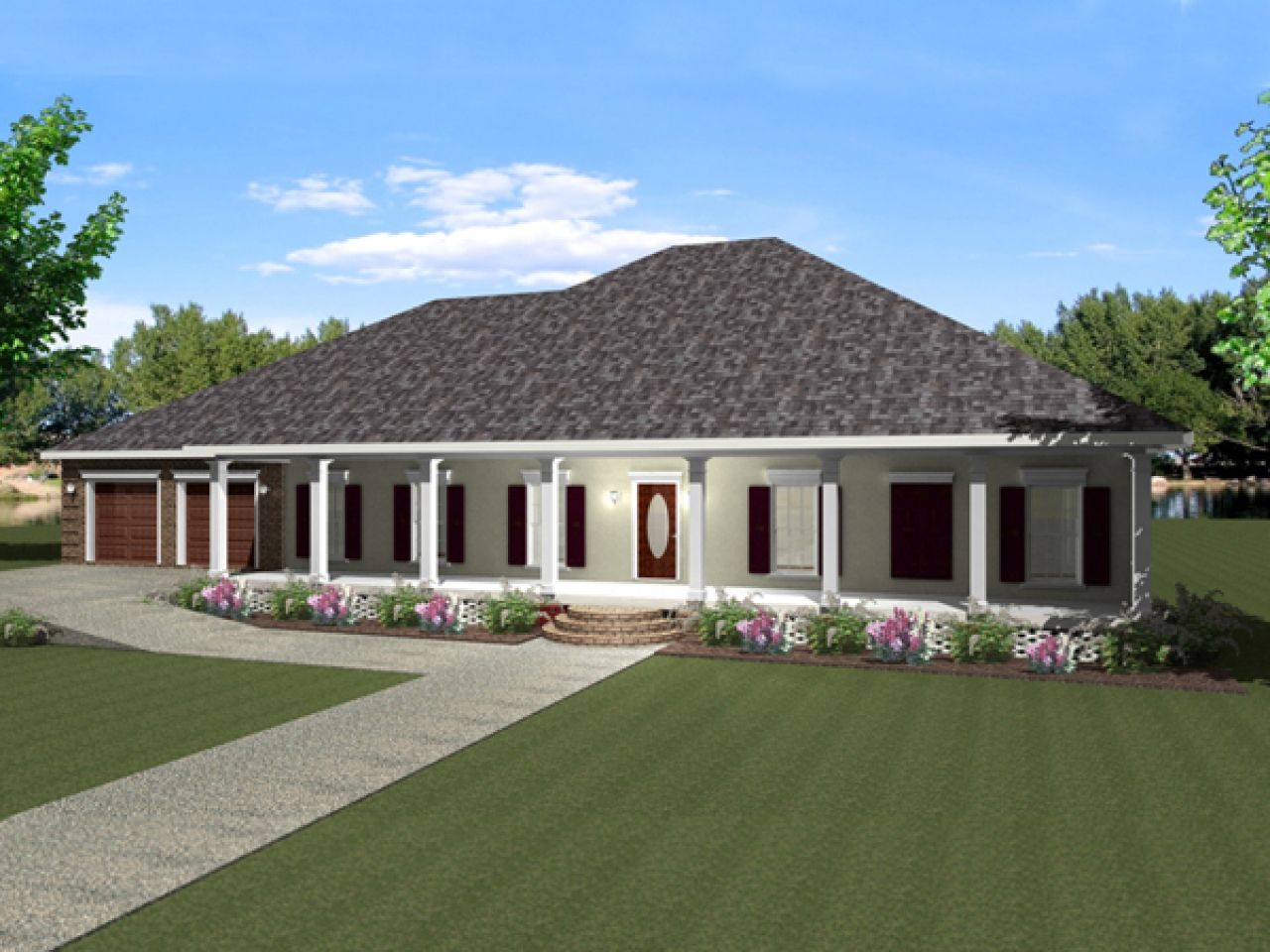 One story house plans with wrap around porch one story for Two story house with wrap around porch