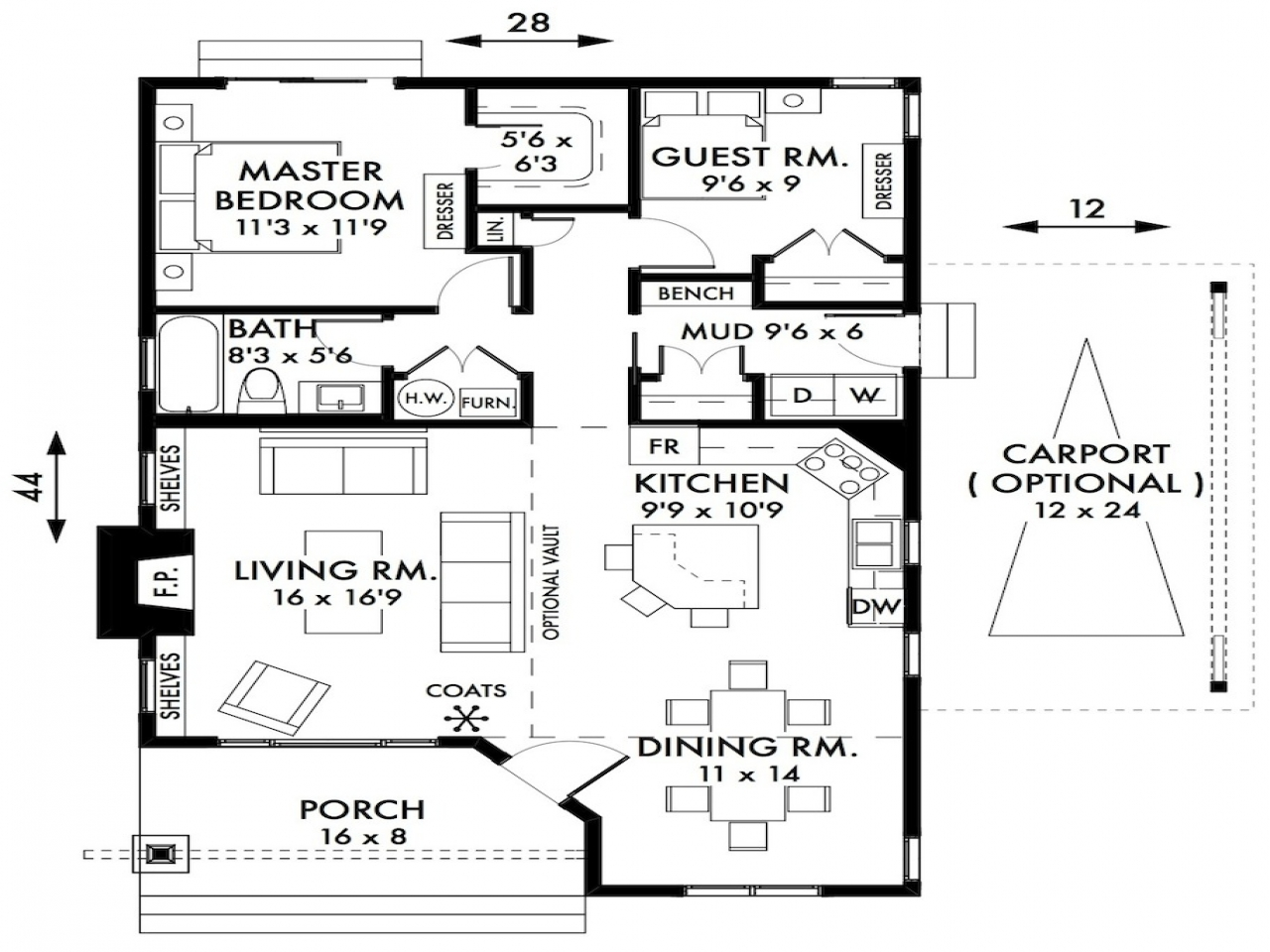 2 bedroom plans small cottage 2 bedroom cottage house for Small 2 bedroom house plans