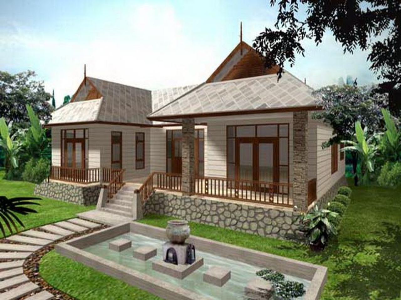 Single story bungalow house modern single story house for Single story cottage house plans