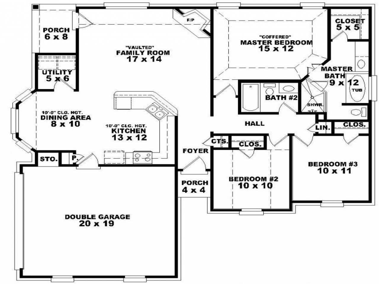 5 bedroom single story house plans master bedroom 4 for House plans 5 bedrooms 1 story