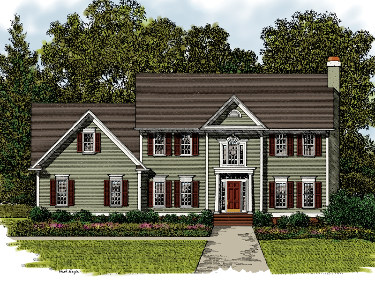 Simple two story house plans two story house plan tiny for Two story farmhouse plans