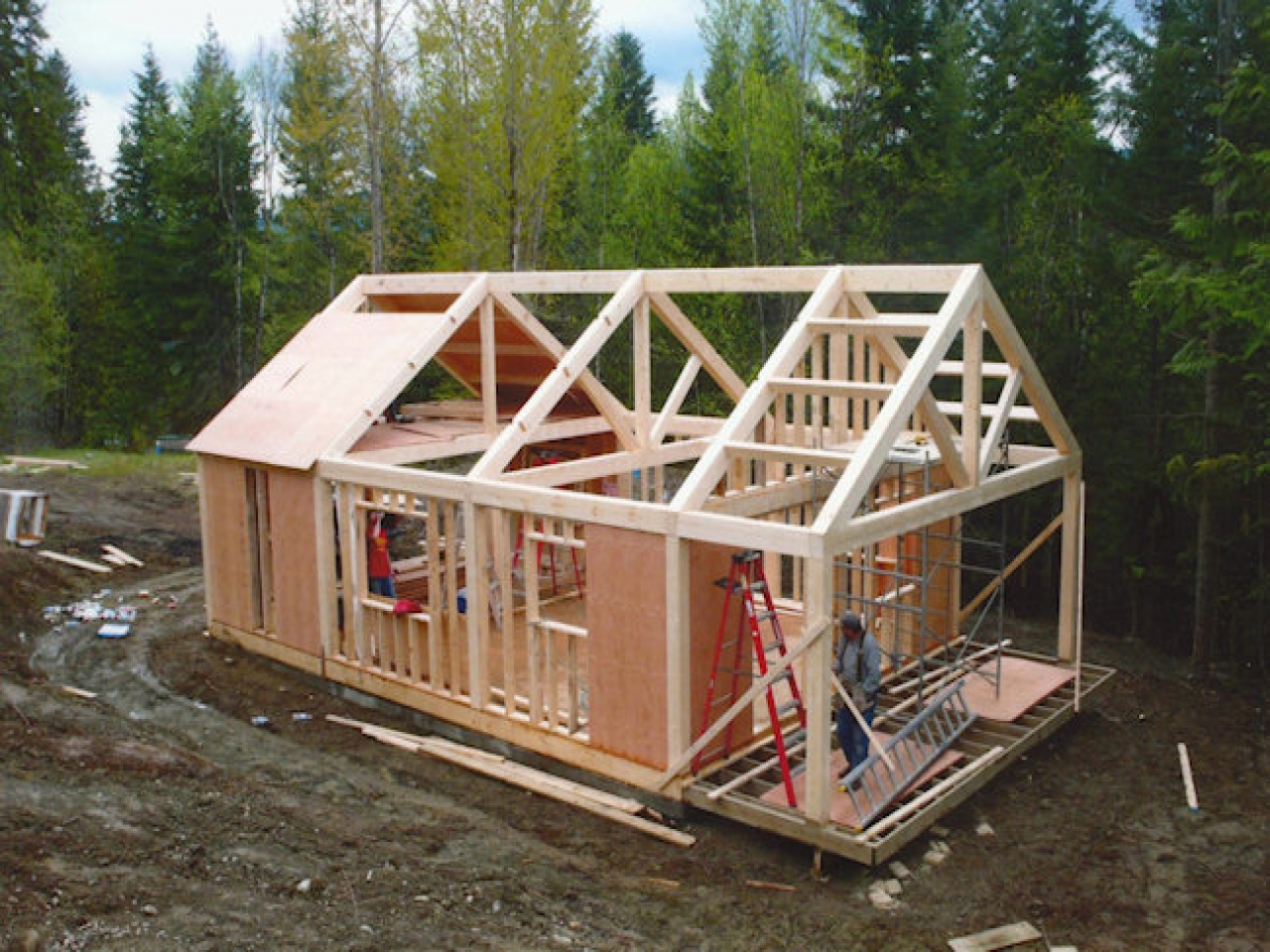 Small timber frame cabin kits small cabin plans timber for Post frame homes plans