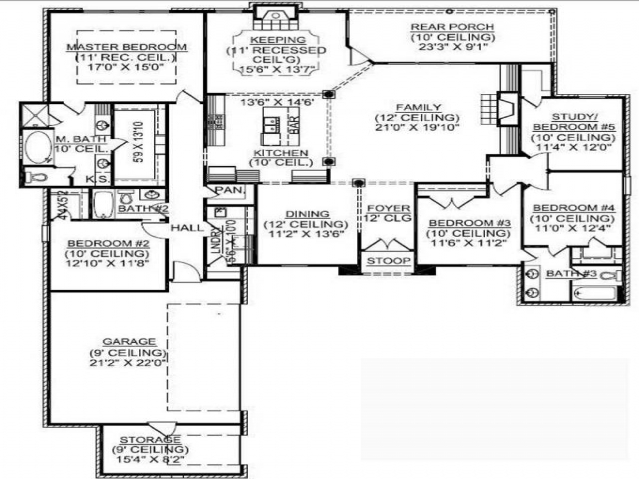 1 5 Story House Plans With Basement 1 Story 5 Bedroom
