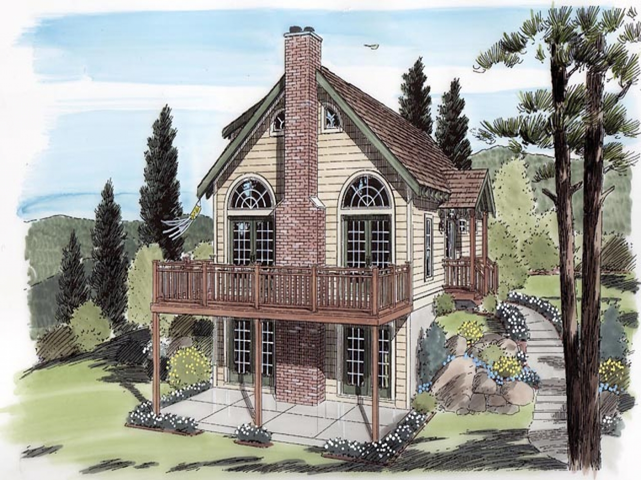 Cabin cottage traditional house plan 24705 elevation for Traditional bungalow house plans