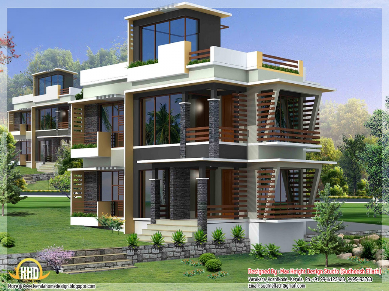 Modern house elevation designs front elevation house photo for Contemporary indian house elevations