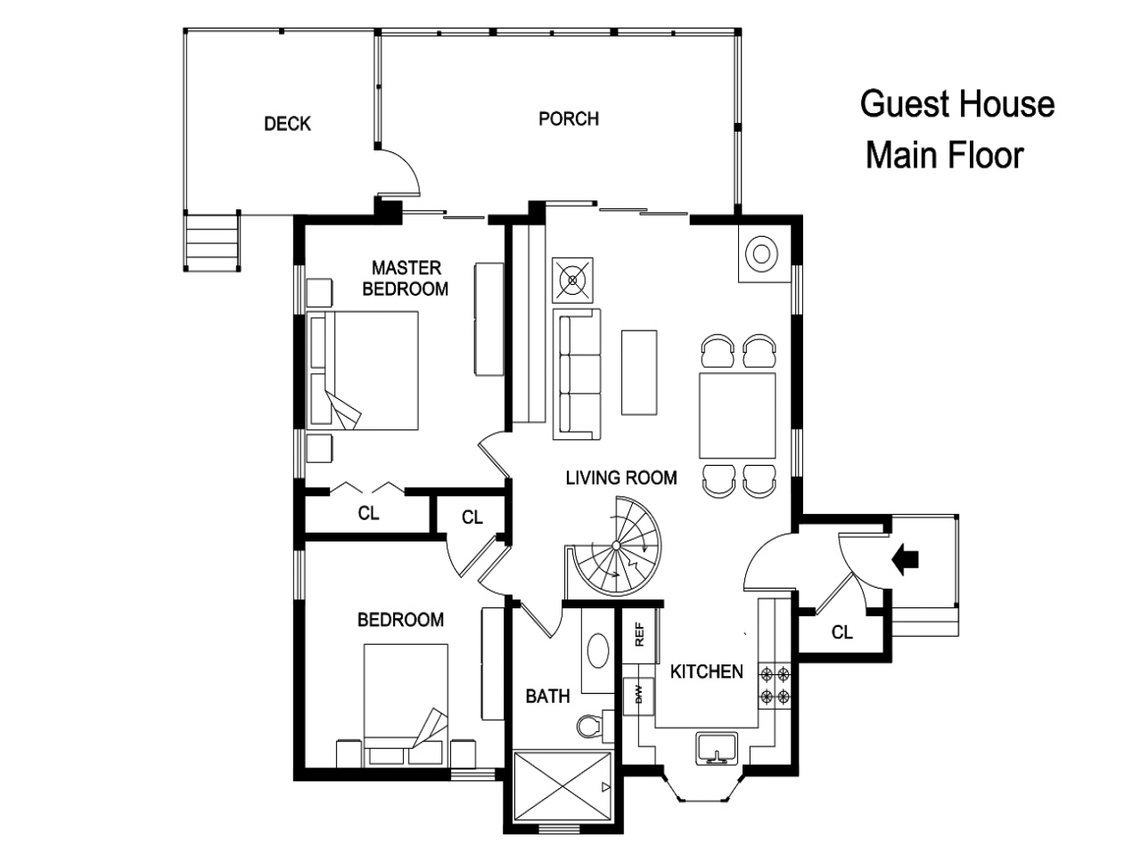 Guest house floor plans 500 sq ft guest house floor plan for Guest home plans