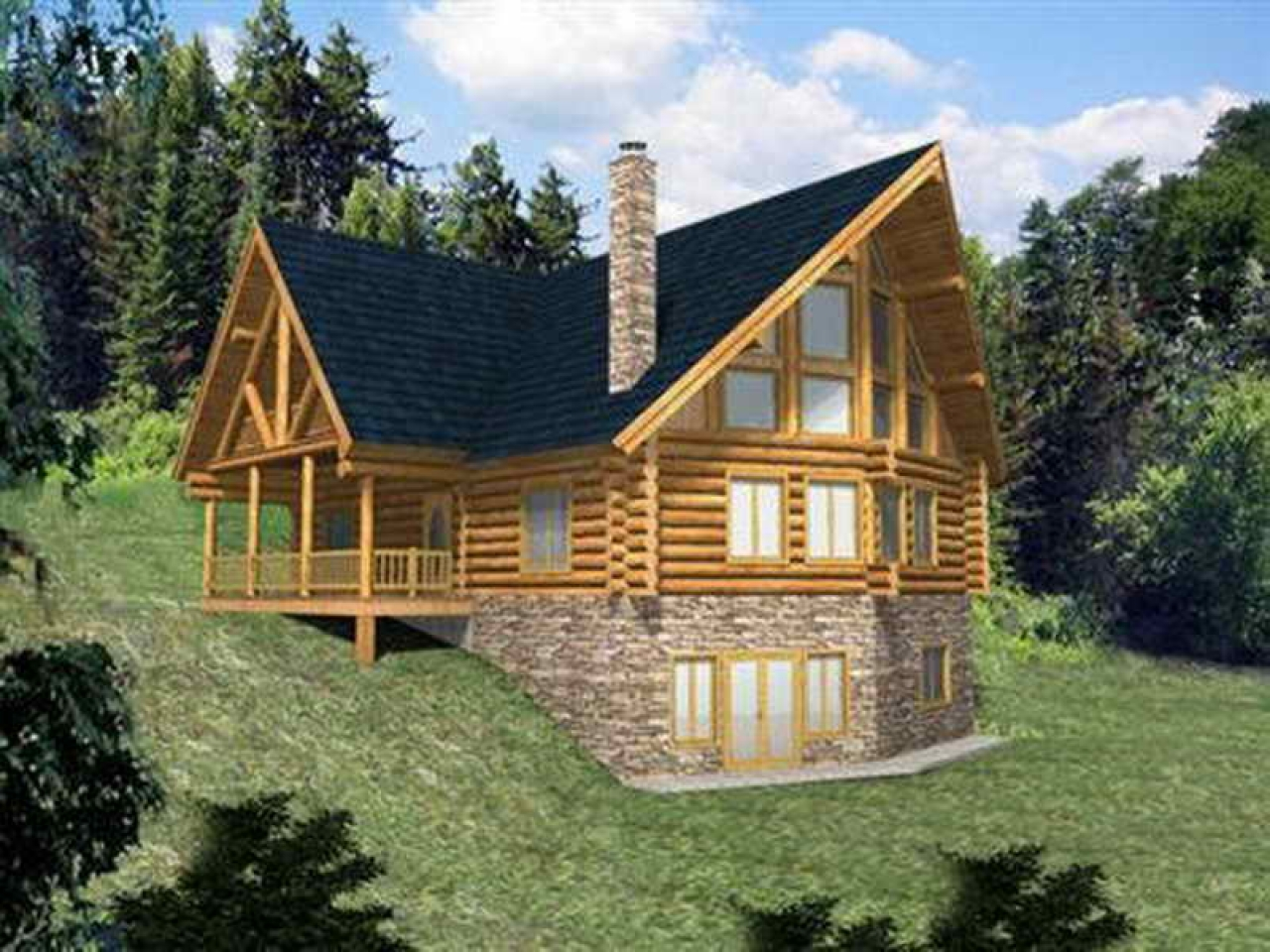 Log Home Plans with Walkout Basement Log Home Plans with ...