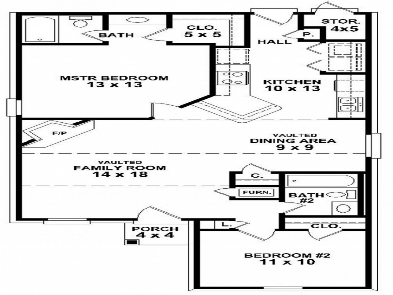 Simple 2 bedroom house floor plans small two bedroom house for Two bedroom home plans