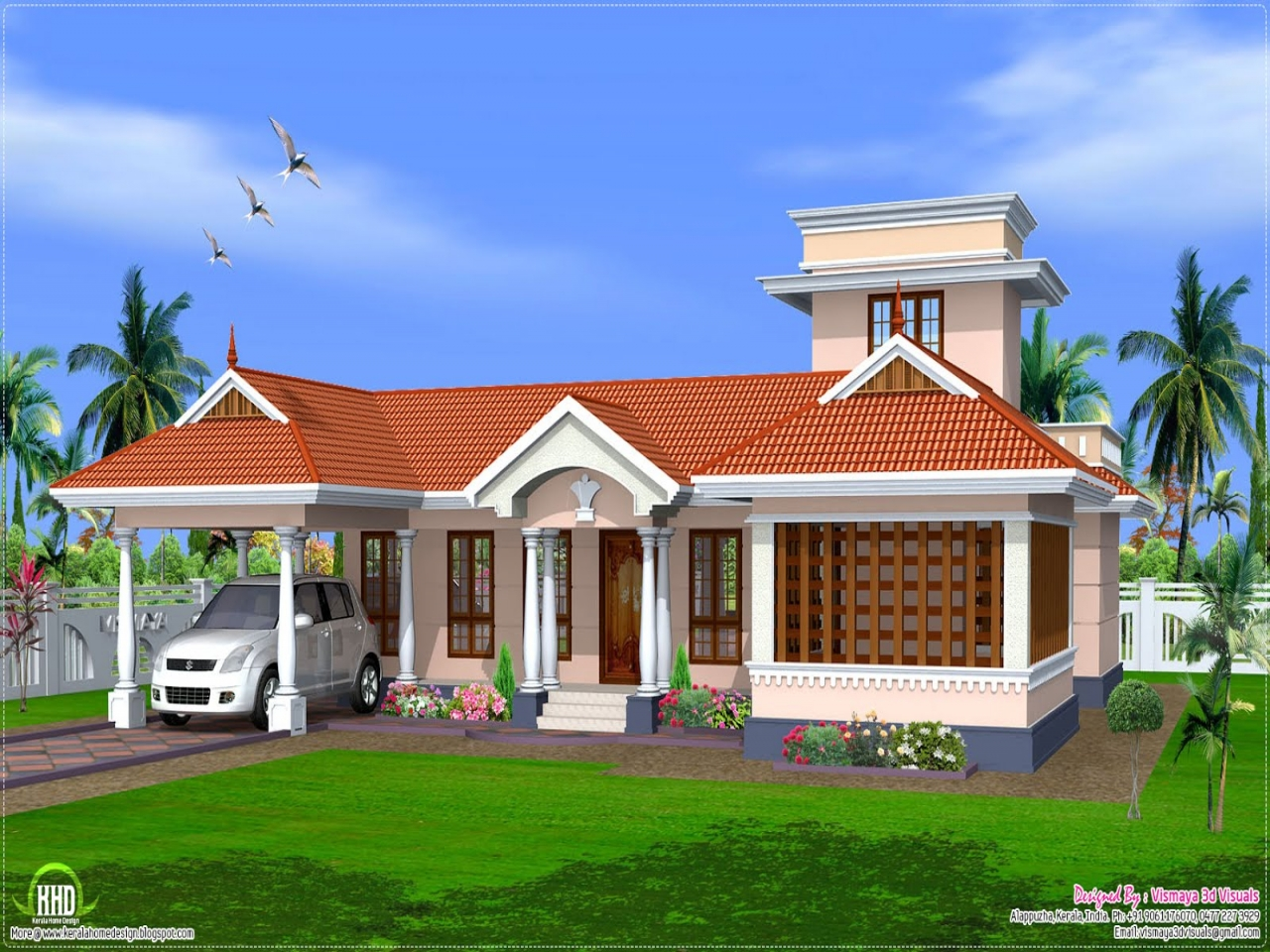 Single floor house front design kerala single floor house for Kerala style single storey house plans